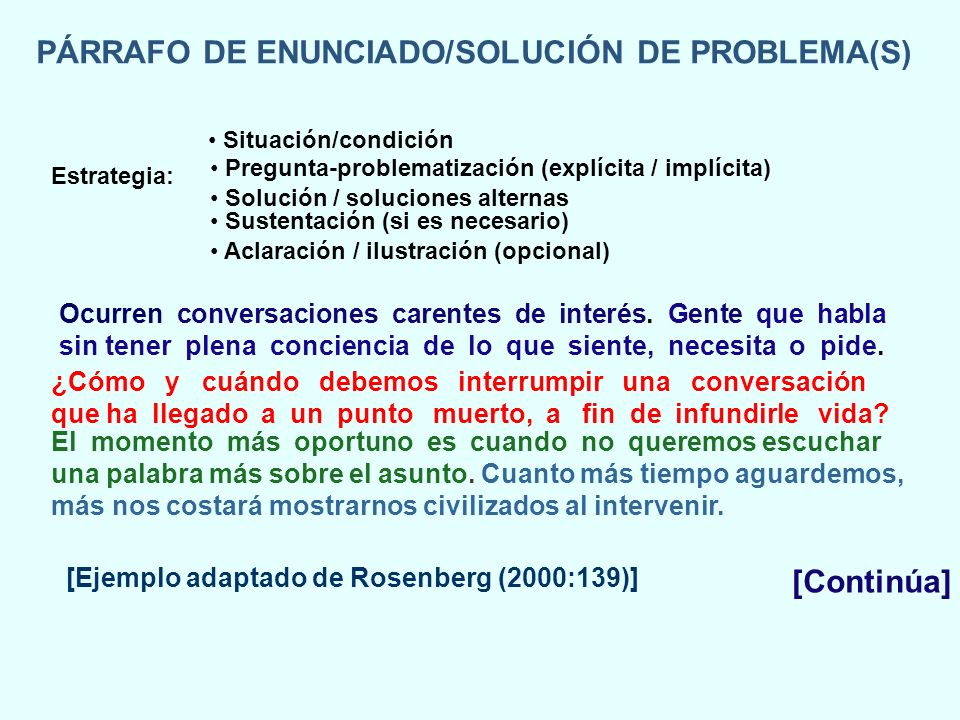 PÁRRAFO DE ENUNCIADO/SOLUCIÓN DE PROBLEMA(S) Ocurren conversaciones carentes de interés. Gente que habla sin tener plena conciencia de lo que siente,