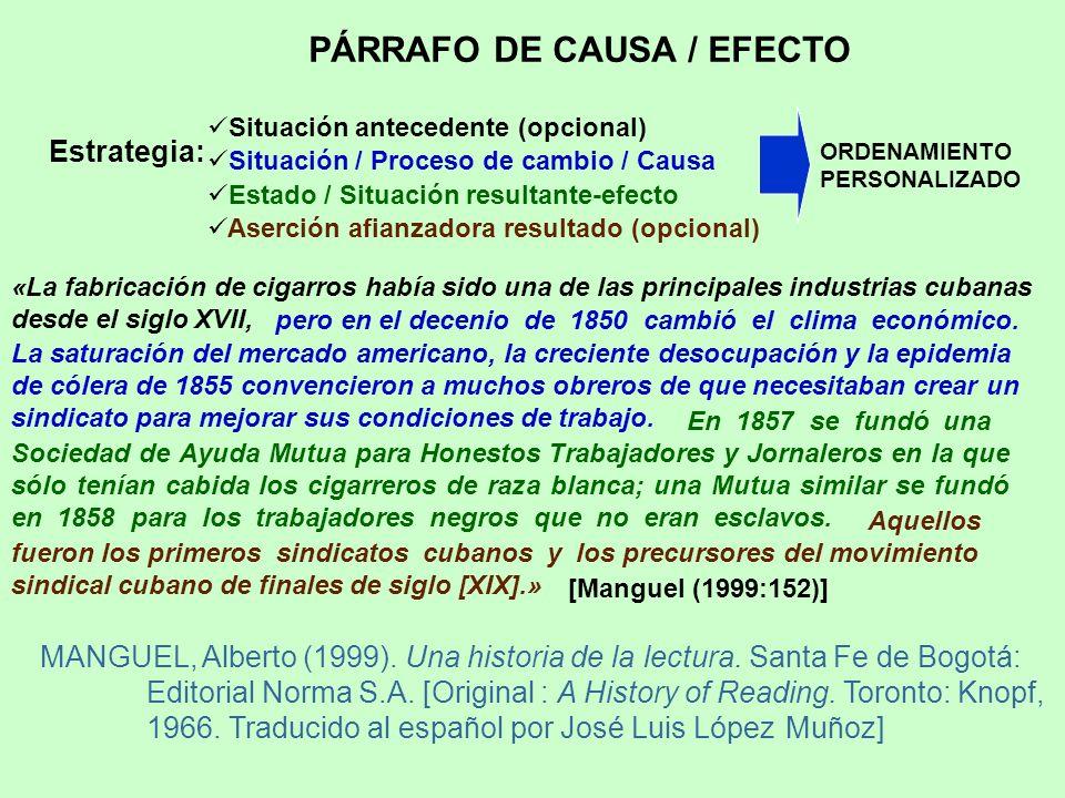 PÁRRAFO DE CAUSA / EFECTO Estrategia: Situación antecedente (opcional) Situación / Proceso de cambio / Causa Estado / Situación resultante-efecto ORDE
