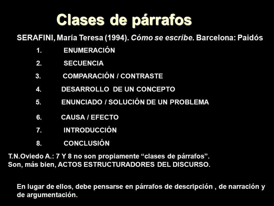 Clases de párrafos SERAFINI, María Teresa (1994). Cómo se escribe. Barcelona: Paidós 1.ENUMERACIÓN 2.SECUENCIA 3. COMPARACIÓN / CONTRASTE 4.DESARROLLO