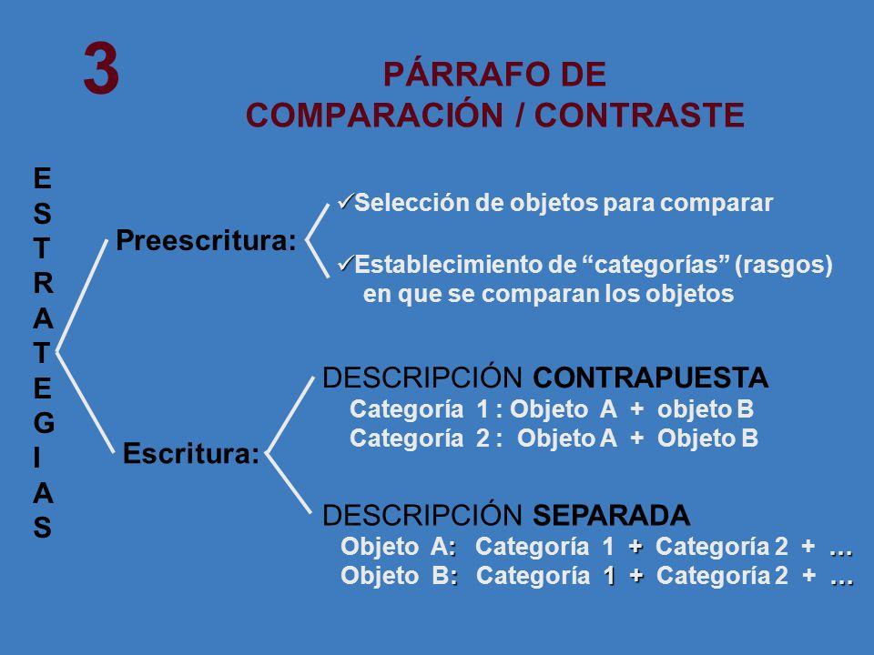 PÁRRAFO DE COMPARACIÓN / CONTRASTE Selección de objetos para comparar Establecimiento de categorías (rasgos) en que se comparan los objetos DESCRIPCIÓ