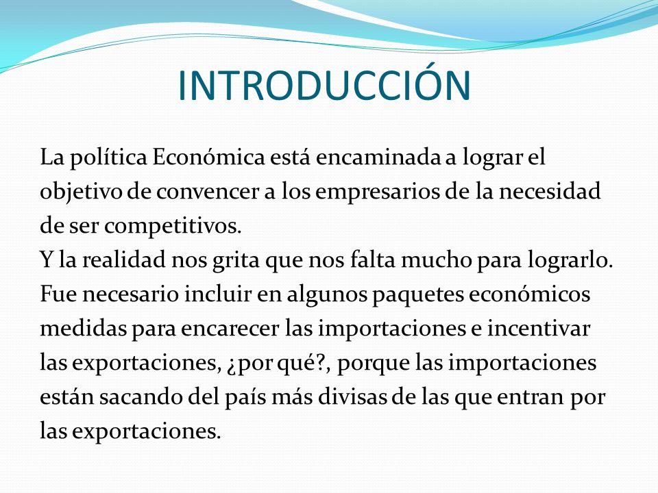 INTRODUCCIÓN La política Económica está encaminada a lograr el objetivo de convencer a los empresarios de la necesidad de ser competitivos. Y la reali