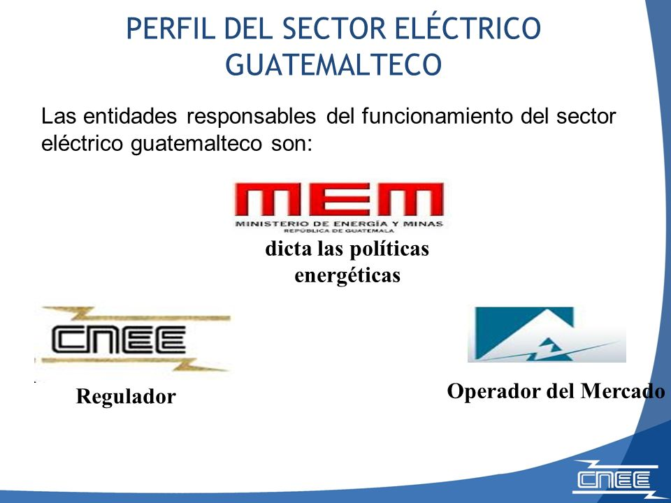 PERFIL DEL SECTOR ELÉCTRICO GUATEMALTECO dicta las políticas energéticas Regulador Operador del Mercado Las entidades responsables del funcionamiento del sector eléctrico guatemalteco son: