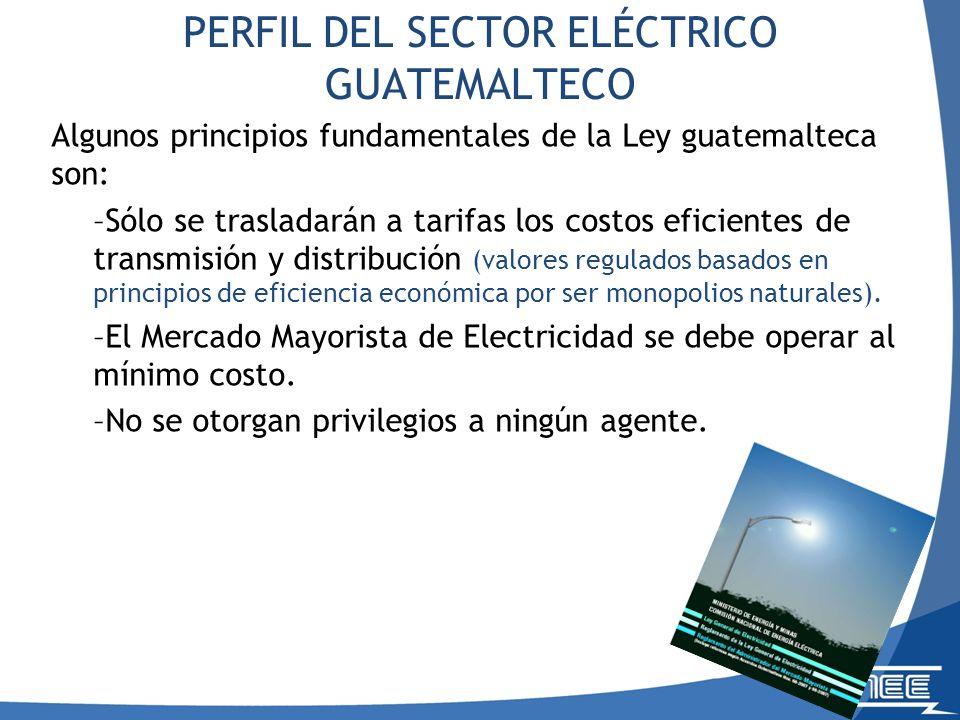 Algunos principios fundamentales de la Ley guatemalteca son: –Sólo se trasladarán a tarifas los costos eficientes de transmisión y distribución (valores regulados basados en principios de eficiencia económica por ser monopolios naturales).