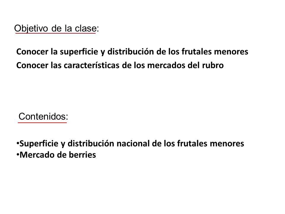 Objetivo de la clase: Conocer la superficie y distribución de los frutales menores Conocer las características de los mercados del rubro Contenidos: S