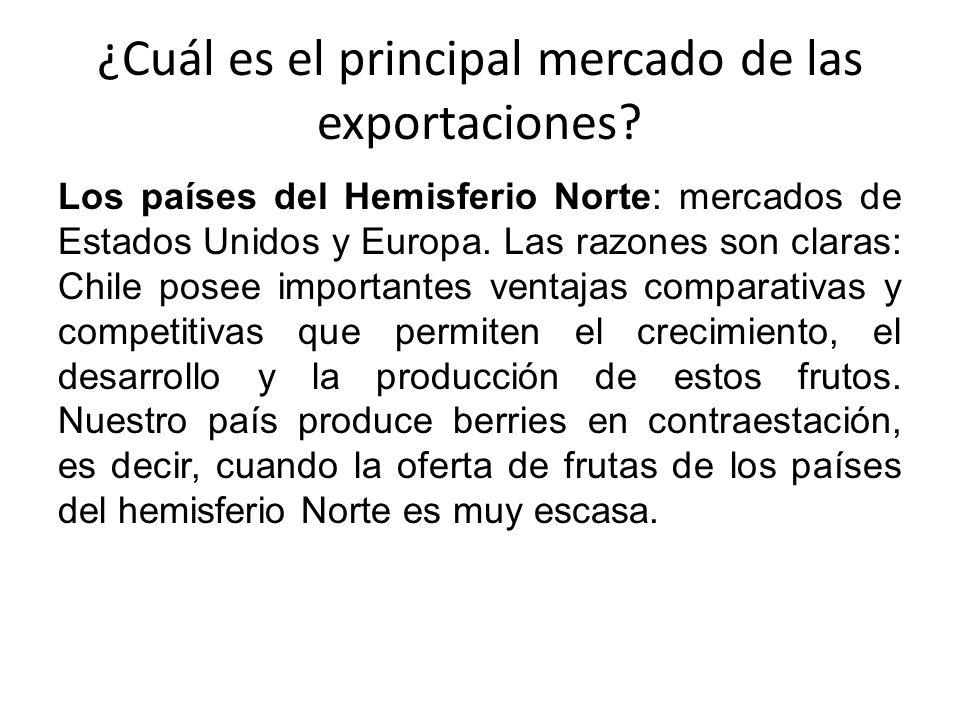 ¿Cuál es el principal mercado de las exportaciones? Los países del Hemisferio Norte: mercados de Estados Unidos y Europa. Las razones son claras: Chil