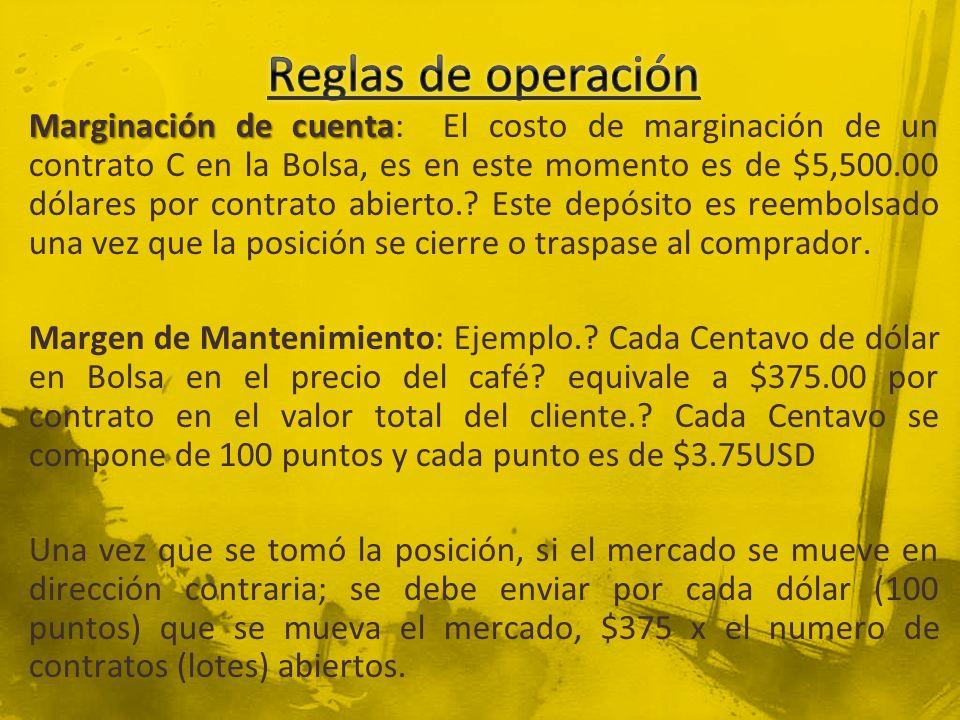 Marginación de cuenta Marginación de cuenta: El costo de marginación de un contrato C en la Bolsa, es en este momento es de $5,500.00 dólares por contrato abierto..