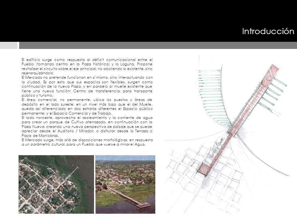 Introducción El edificio surge como respuesta al déficit comunicacional entre el Pueblo (tomando centro en la Plaza histórica) y la Laguna. Propone re