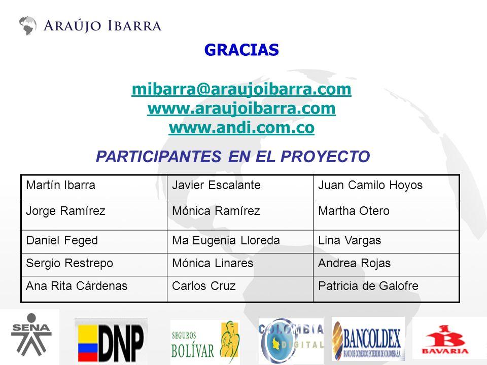 GRACIAS mibarra@araujoibarra.com www.araujoibarra.com www.andi.com.co PARTICIPANTES EN EL PROYECTO Martín IbarraJavier EscalanteJuan Camilo Hoyos Jorg
