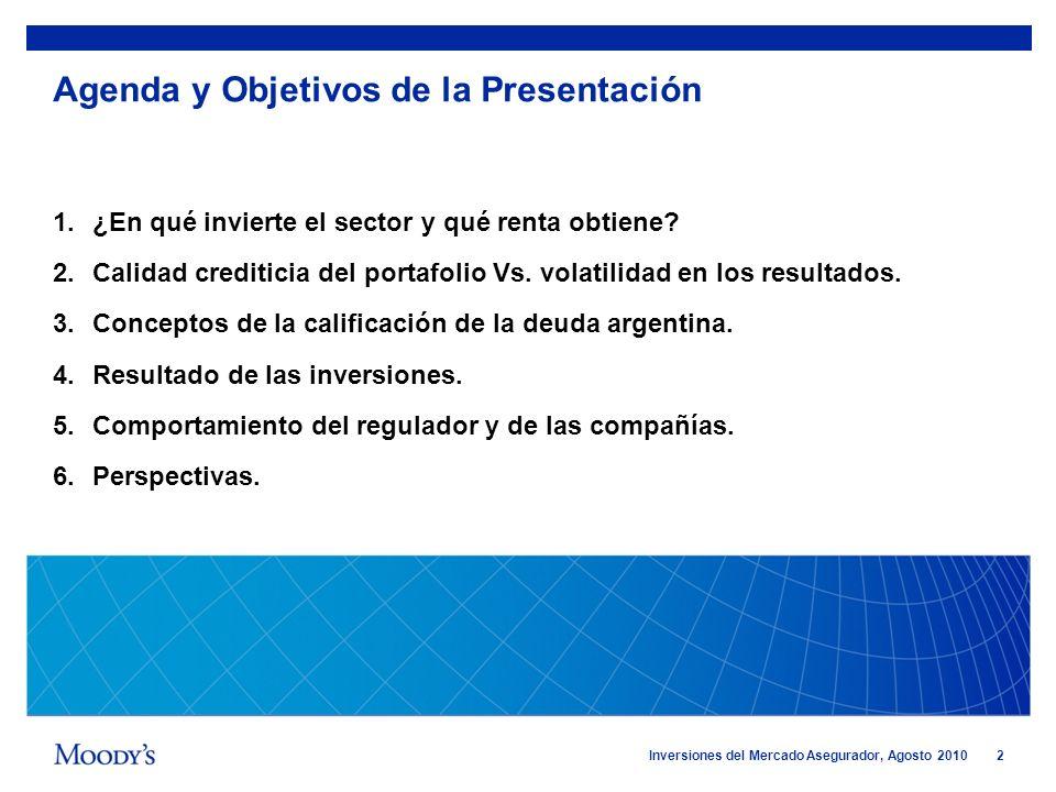 2 Inversiones del Mercado Asegurador, Agosto 2010 Agenda y Objetivos de la Presentación 1.¿En qué invierte el sector y qué renta obtiene? 2.Calidad cr
