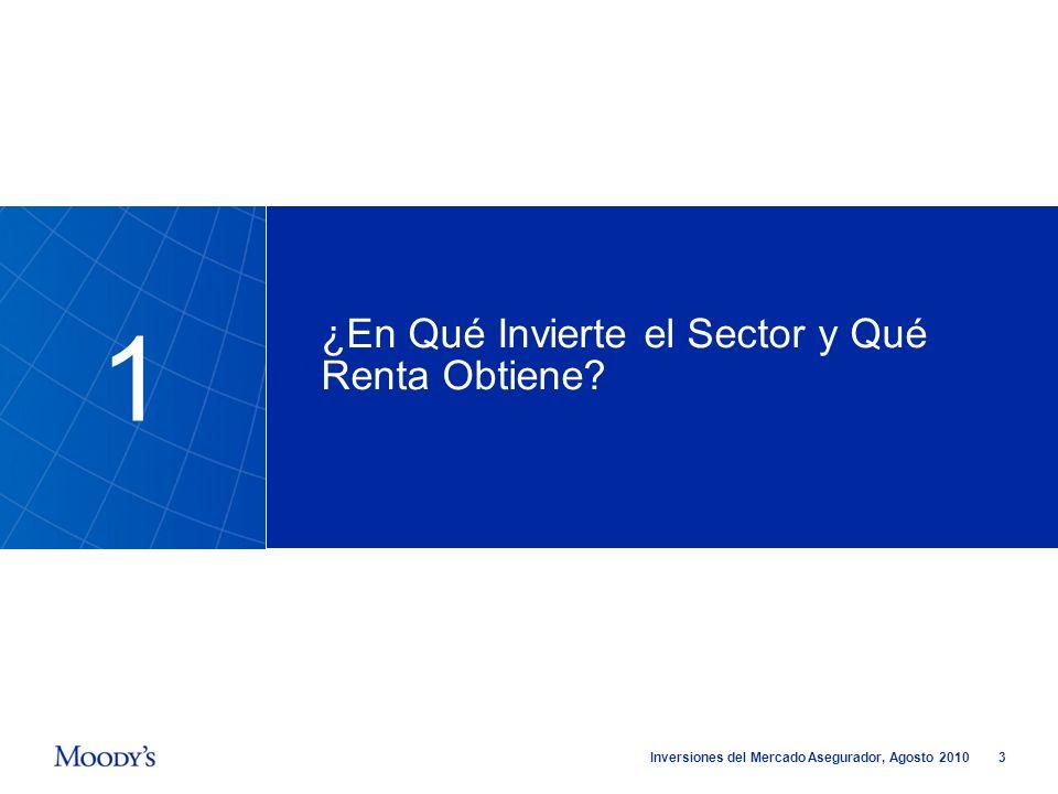 3 Inversiones del Mercado Asegurador, Agosto 2010 ¿En Qué Invierte el Sector y Qué Renta Obtiene? 1