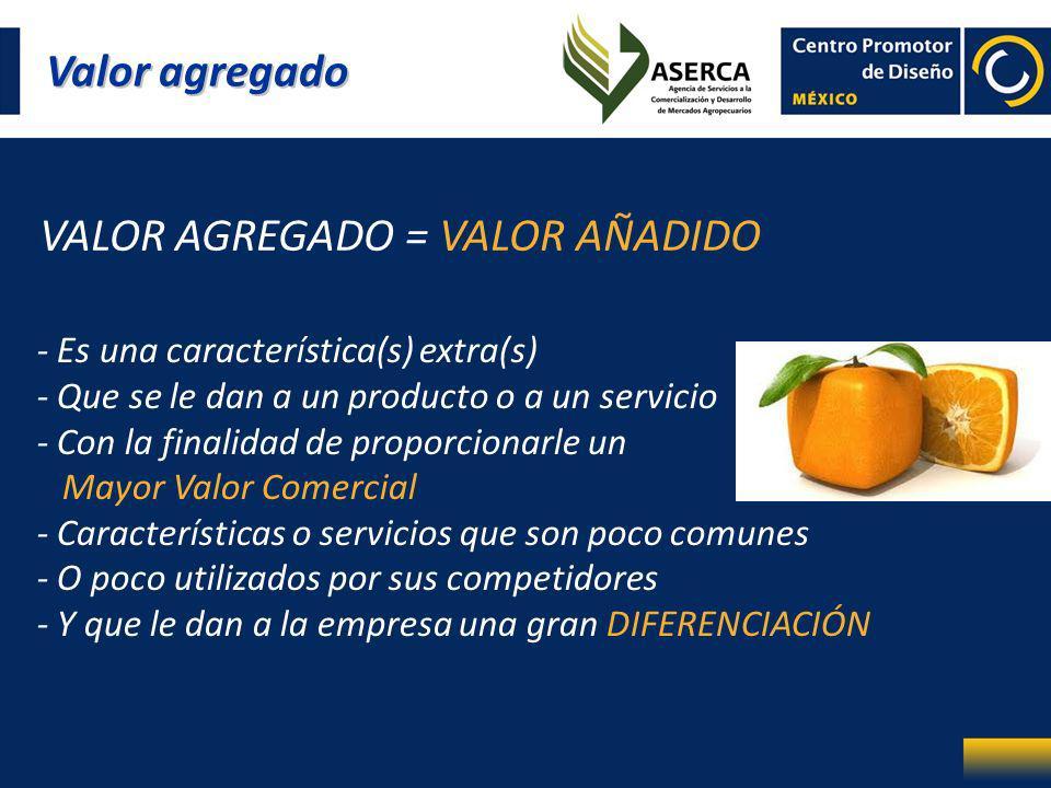 Valor agregado VALOR AGREGADO = VALOR AÑADIDO - Es una característica(s) extra(s) - Que se le dan a un producto o a un servicio - Con la finalidad de