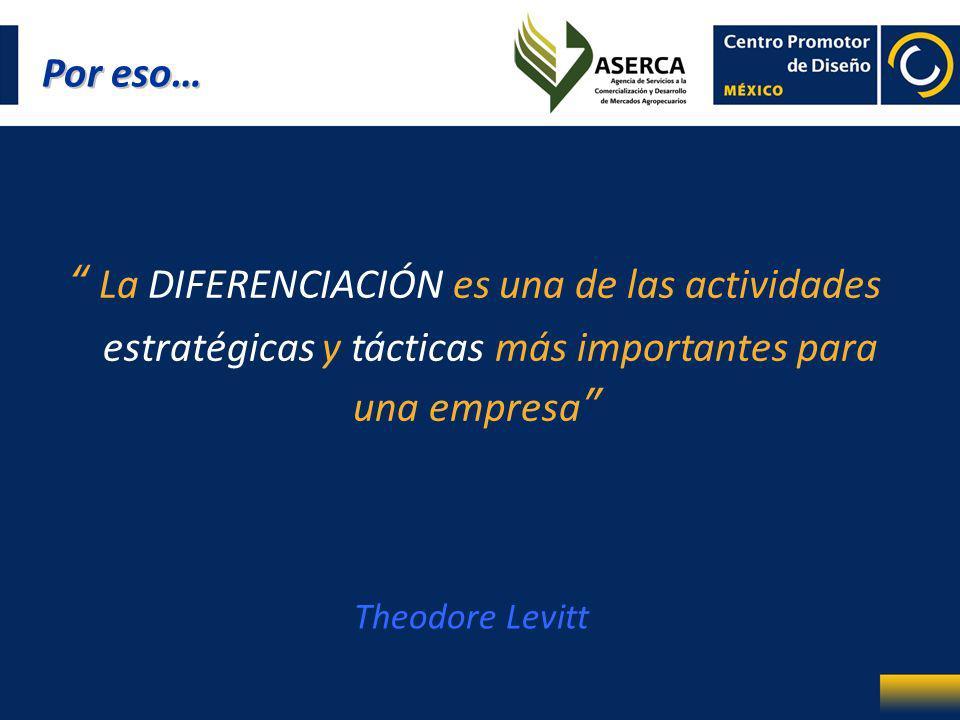La DIFERENCIACIÓN es una de las actividades estratégicas y tácticas más importantes para una empresa Theodore Levitt Por eso…