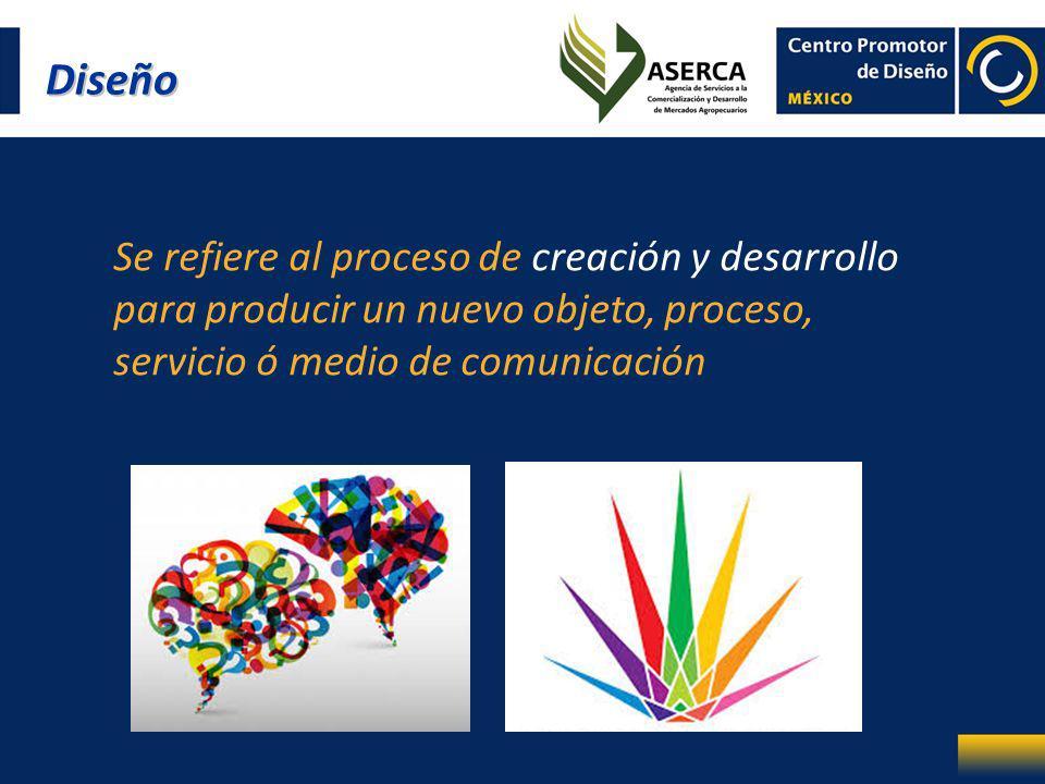 Se refiere al proceso de creación y desarrollo para producir un nuevo objeto, proceso, servicio ó medio de comunicación Diseño