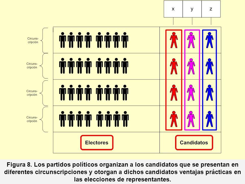 Figura 8. Los partidos políticos organizan a los candidatos que se presentan en diferentes circunscripciones y otorgan a dichos candidatos ventajas pr