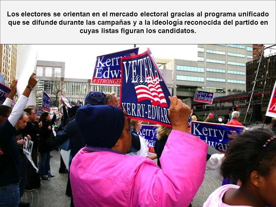 Los electores se orientan en el mercado electoral gracias al programa unificado que se difunde durante las campañas y a la ideología reconocida del pa