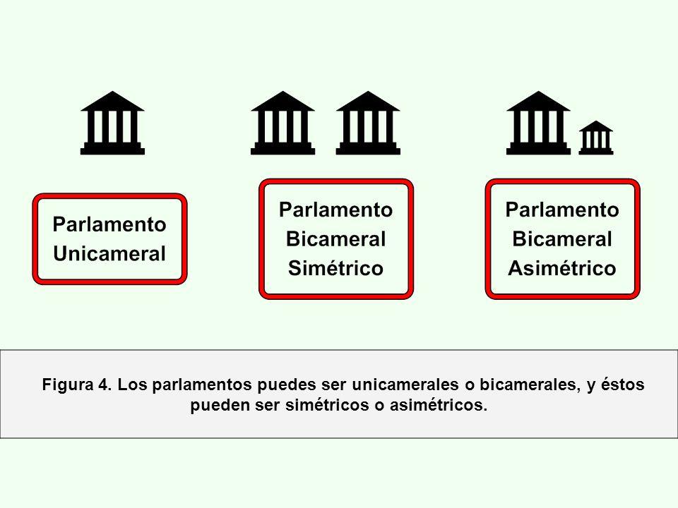 Figura 4. Los parlamentos puedes ser unicamerales o bicamerales, y éstos pueden ser simétricos o asimétricos.