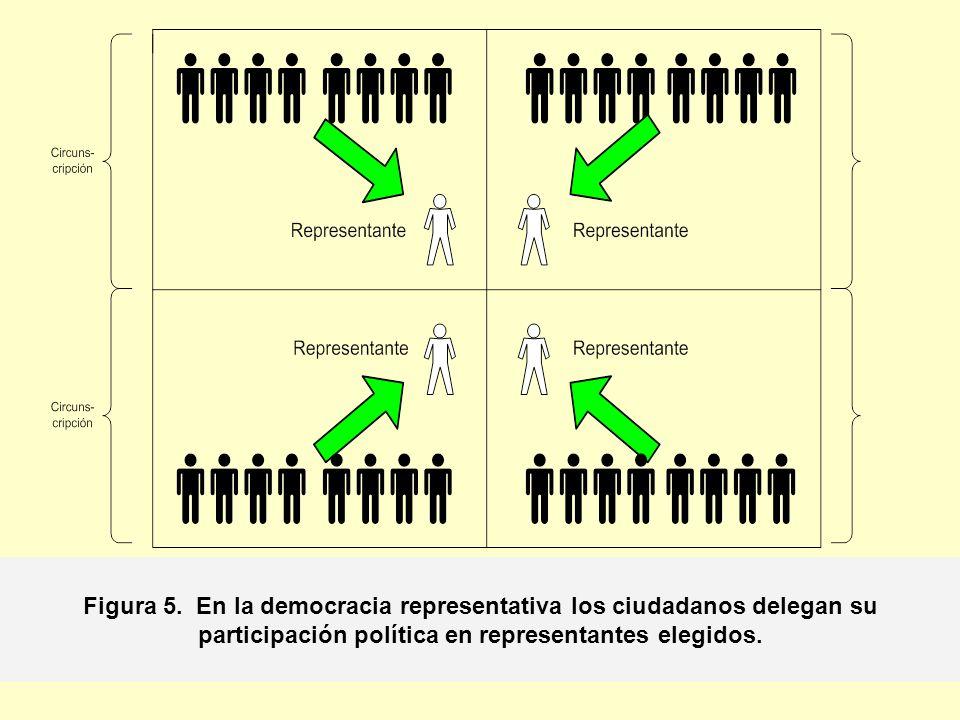 Figura 5. En la democracia representativa los ciudadanos delegan su participación política en representantes elegidos.