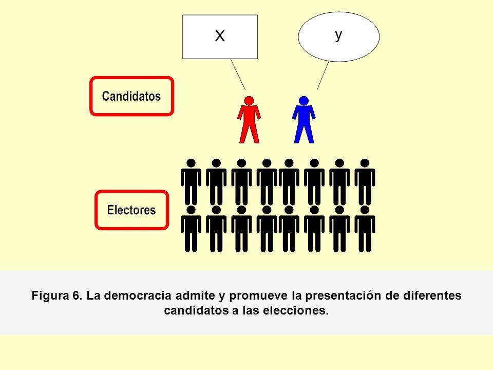 Figura 6. La democracia admite y promueve la presentación de diferentes candidatos a las elecciones.