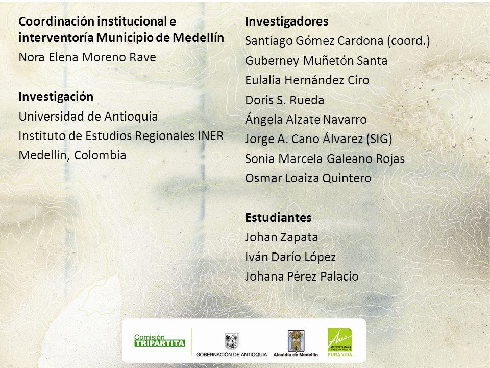 Coordinación institucional e interventoría Municipio de Medellín Nora Elena Moreno Rave Investigación Universidad de Antioquia Instituto de Estudios R