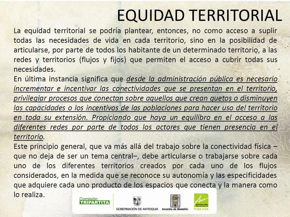 EQUIDAD TERRITORIAL La equidad territorial se podría plantear, entonces, no como acceso a suplir todas las necesidades de vida en cada territorio, sin
