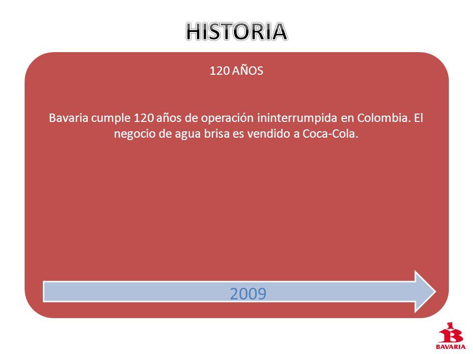2009 120 AÑOS Bavaria cumple 120 años de operación ininterrumpida en Colombia. El negocio de agua brisa es vendido a Coca-Cola. 2009