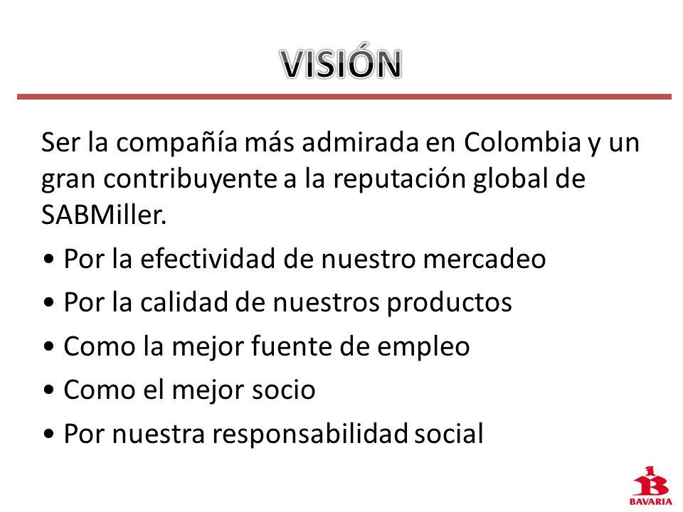Ser la compañía más admirada en Colombia y un gran contribuyente a la reputación global de SABMiller. Por la efectividad de nuestro mercadeo Por la ca