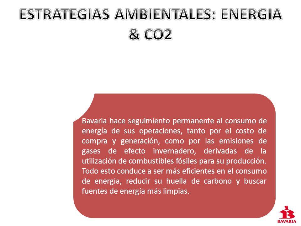 Bavaria hace seguimiento permanente al consumo de energía de sus operaciones, tanto por el costo de compra y generación, como por las emisiones de gas
