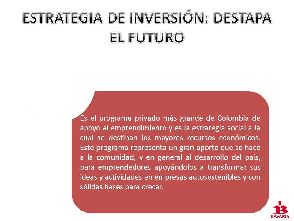 Es el programa privado más grande de Colombia de apoyo al emprendimiento y es la estrategia social a la cual se destinan los mayores recursos económic
