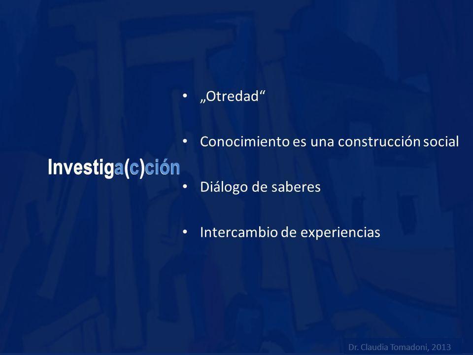 Investiga(c)ción Otredad Conocimiento es una construcción social Diálogo de saberes Intercambio de experiencias Dr. Claudia Tomadoni, 2013
