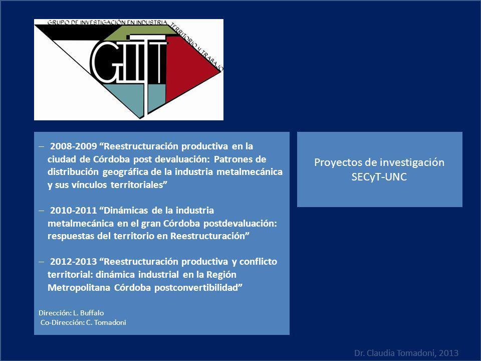Proyectos de investigación SECyT-UNC 2008-2009 Reestructuración productiva en la ciudad de Córdoba post devaluación: Patrones de distribución geográfi