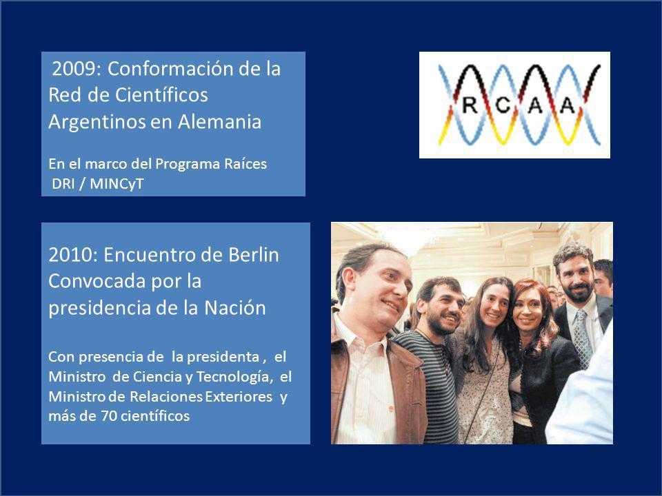 2010: Encuentro de Berlin Convocada por la presidencia de la Nación Con presencia de la presidenta, el Ministro de Ciencia y Tecnología, el Ministro d