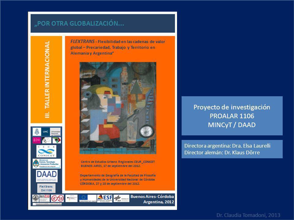 Dr. Claudia Tomadoni, 2013 Proyecto de investigación PROALAR 1106 MINCyT / DAAD Directora argentina: Dra. Elsa Laurelli Director alemán: Dr. Klaus Dör
