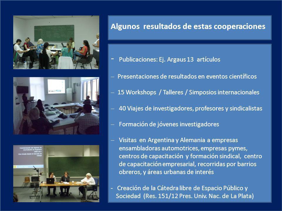 - Publicaciones: Ej. Argaus 13 artículos Presentaciones de resultados en eventos científicos 15 Workshops / Talleres / Simposios internacionales 40 Vi
