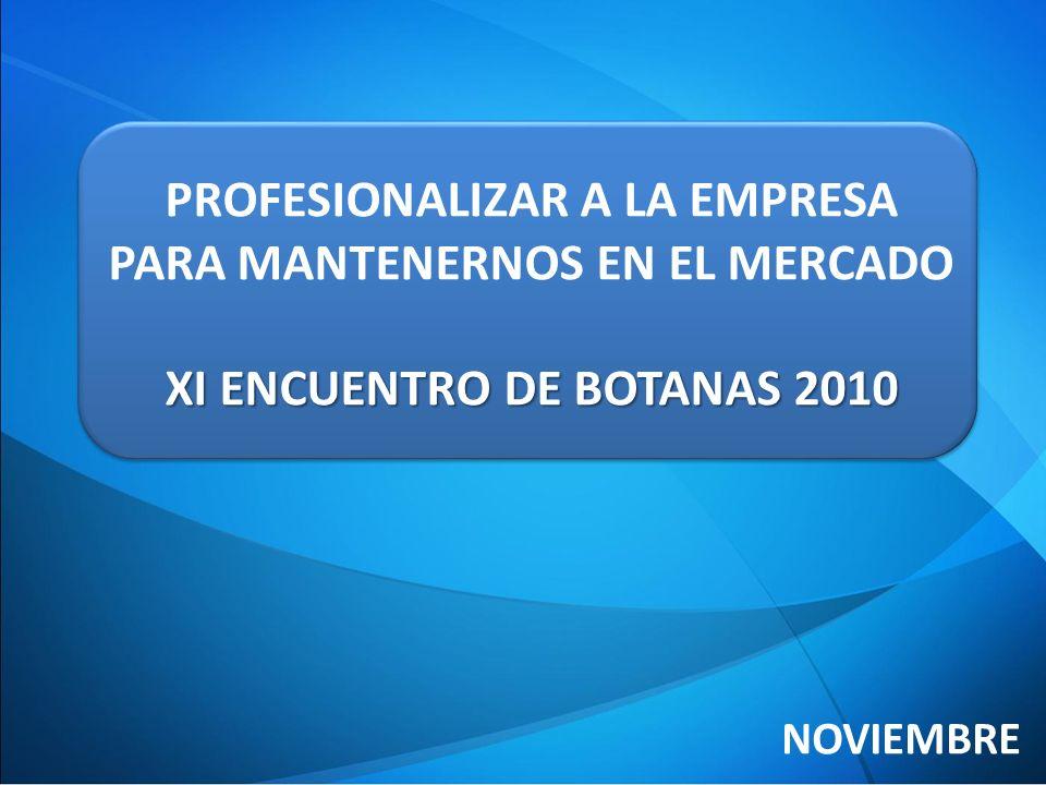 PROFESIONALIZAR A LA EMPRESA PARA MANTENERNOS EN EL MERCADO XI ENCUENTRO DE BOTANAS 2010 NOVIEMBRE