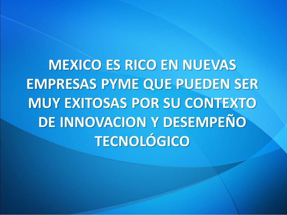 MEXICO ES RICO EN NUEVAS EMPRESAS PYME QUE PUEDEN SER MUY EXITOSAS POR SU CONTEXTO DE INNOVACION Y DESEMPEÑO TECNOLÓGICO
