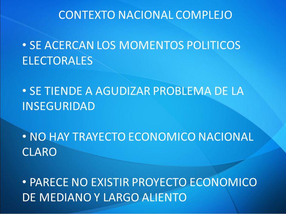 CONTEXTO NACIONAL COMPLEJO SE ACERCAN LOS MOMENTOS POLITICOS ELECTORALES SE TIENDE A AGUDIZAR PROBLEMA DE LA INSEGURIDAD NO HAY TRAYECTO ECONOMICO NACIONAL CLARO PARECE NO EXISTIR PROYECTO ECONOMICO DE MEDIANO Y LARGO ALIENTO