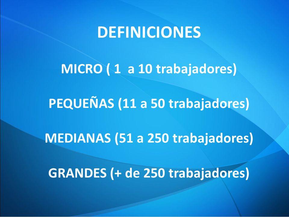 DEFINICIONES MICRO ( 1 a 10 trabajadores) PEQUEÑAS (11 a 50 trabajadores) MEDIANAS (51 a 250 trabajadores) GRANDES (+ de 250 trabajadores)