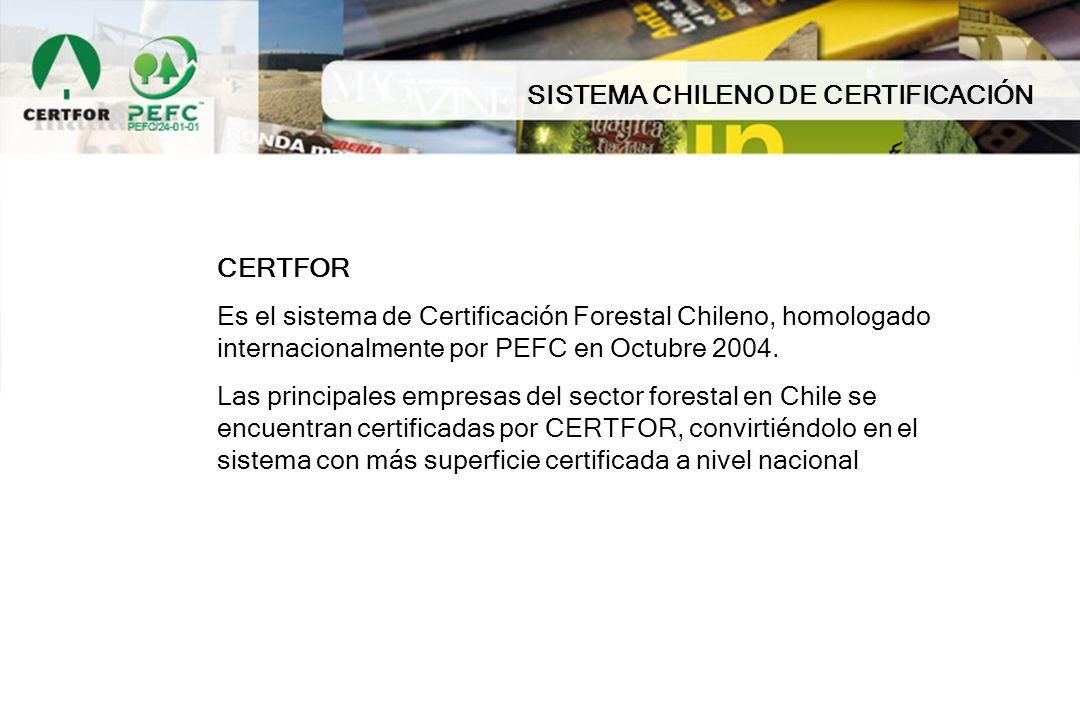 SISTEMA CHILENO DE CERTIFICACIÓN CERTFOR Es el sistema de Certificación Forestal Chileno, homologado internacionalmente por PEFC en Octubre 2004. Las