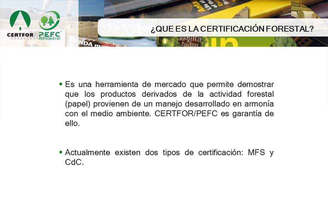 ¿QUE ES LA CERTIFICACIÓN FORESTAL? Es una herramienta de mercado que permite demostrar que los productos derivados de la actividad forestal (papel) pr
