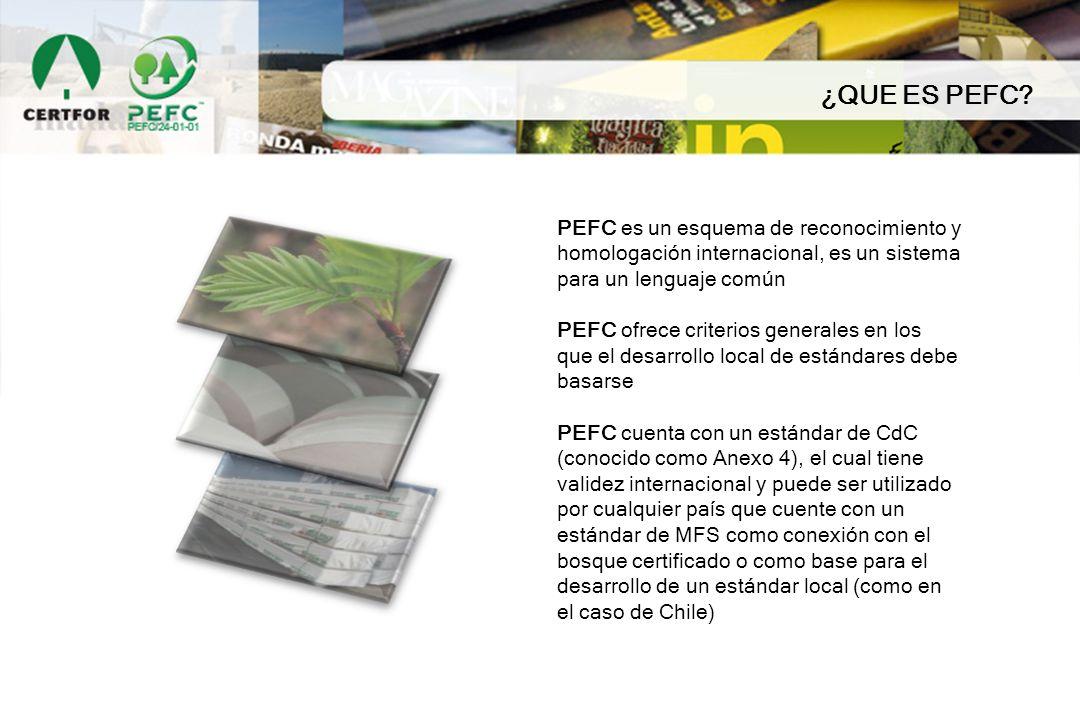 ¿QUE ES PEFC? PEFC es un esquema de reconocimiento y homologación internacional, es un sistema para un lenguaje común PEFC ofrece criterios generales