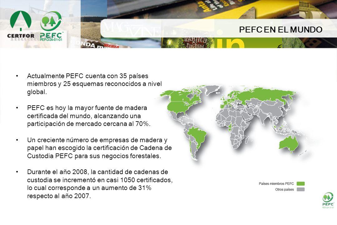 PEFC EN EL MUNDO Actualmente PEFC cuenta con 35 países miembros y 25 esquemas reconocidos a nivel global. PEFC es hoy la mayor fuente de madera certif