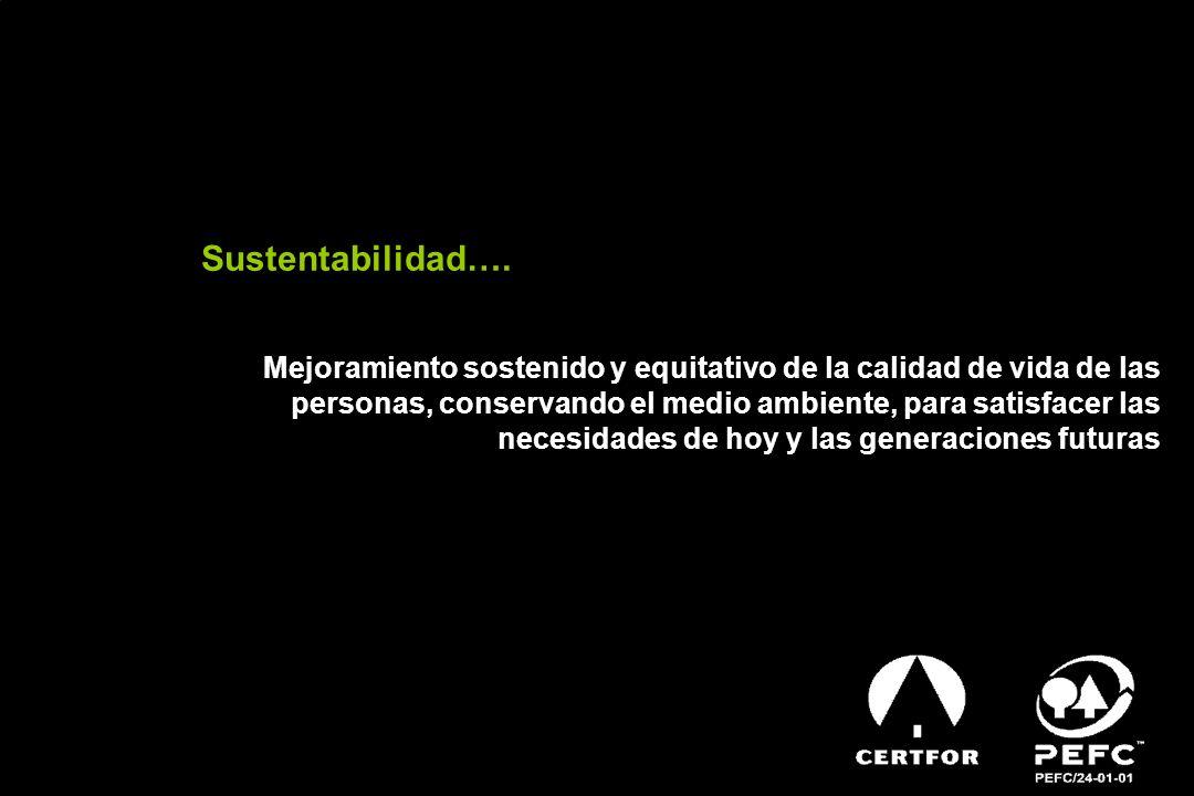 Sustentabilidad…. Mejoramiento sostenido y equitativo de la calidad de vida de las personas, conservando el medio ambiente, para satisfacer las necesi