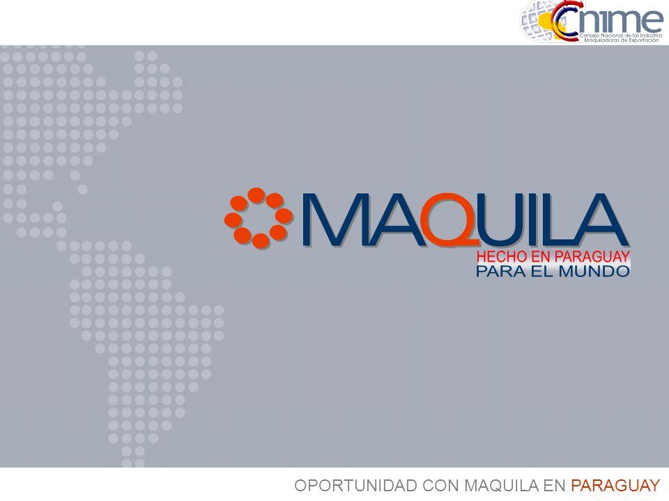 Argentina Uruguay Brasil Ingreso de Productos al MERCOSUR Paraguay Importaciones: PAGAN EL ARANCEL EXTERNO COMÚN DEL MERCOSUR Con el Régimen de Maquila: SUSPENSIÓN DEL PAGO DE ARANCELES E IMPUESTOS - Importación temporal de Bienes de Cap., MP, Insumos, Partes, Componentes.