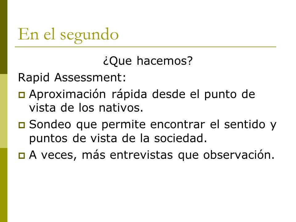 En el segundo ¿Que hacemos? Rapid Assessment: Aproximación rápida desde el punto de vista de los nativos. Sondeo que permite encontrar el sentido y pu