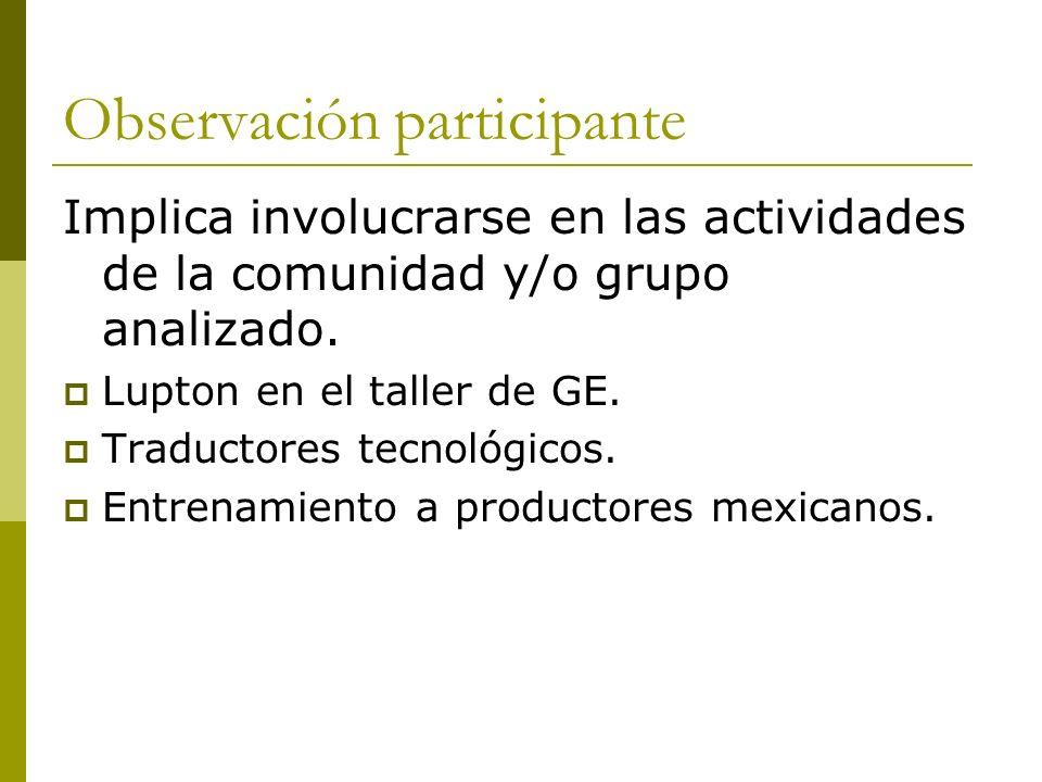 Observación participante Implica involucrarse en las actividades de la comunidad y/o grupo analizado. Lupton en el taller de GE. Traductores tecnológi