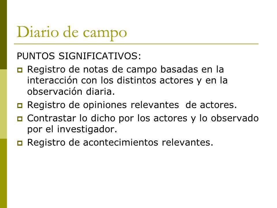Diario de campo PUNTOS SIGNIFICATIVOS: Registro de notas de campo basadas en la interacción con los distintos actores y en la observación diaria. Regi