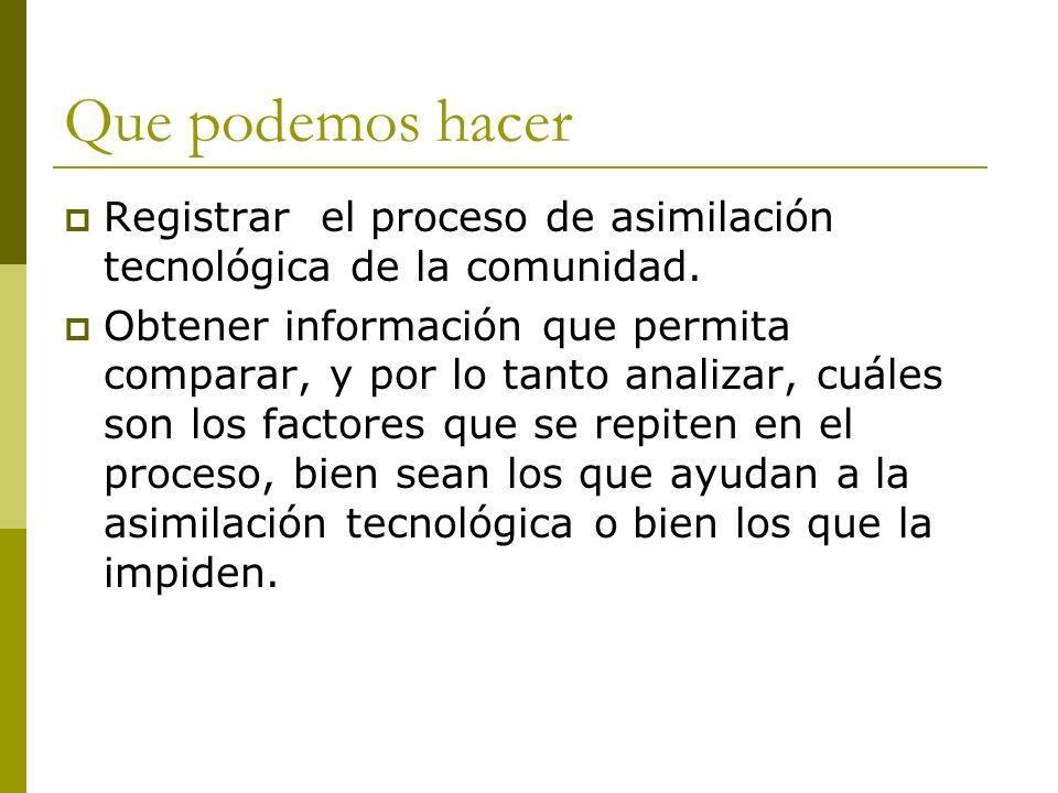 Que podemos hacer Registrar el proceso de asimilación tecnológica de la comunidad. Obtener información que permita comparar, y por lo tanto analizar,