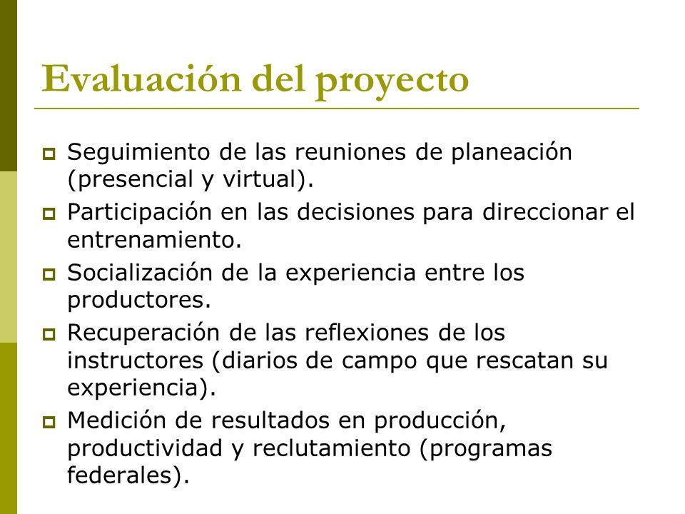 Evaluación del proyecto Seguimiento de las reuniones de planeación (presencial y virtual). Participación en las decisiones para direccionar el entrena