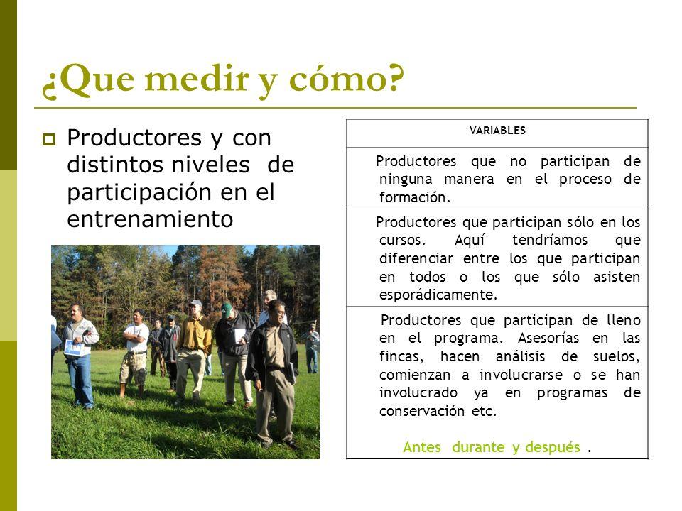 ¿Que medir y cómo? Productores y con distintos niveles de participación en el entrenamiento VARIABLES Productores que no participan de ninguna manera