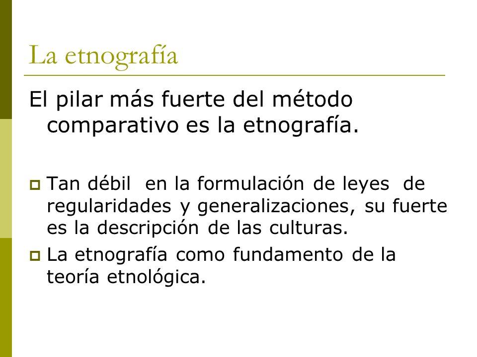 La etnografía El pilar más fuerte del método comparativo es la etnografía. Tan débil en la formulación de leyes de regularidades y generalizaciones, s